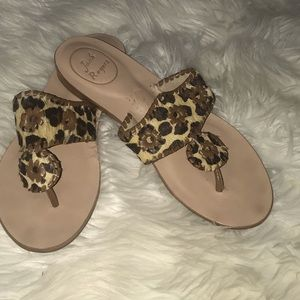 Jack Rodgers Animal Print Calf Hair Sandals, 8